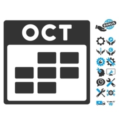 October calendar grid icon with bonus vector