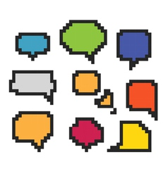 pixel speech clouds vector image vector image