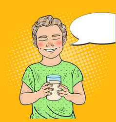 Pop art cheerful boy with glass of milk vector