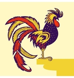 Rooster decorated with patterns vector image