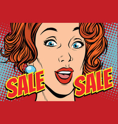 sale comic text pop art woman vector image