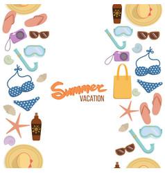 seamless borders summer vacation vector image vector image