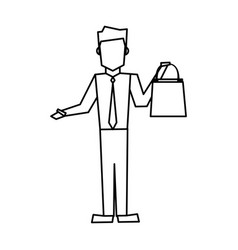 smiling man holding shopping bags vector image vector image