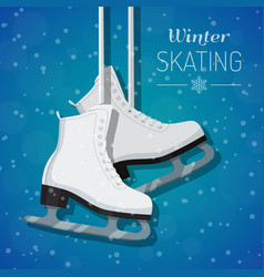 white ice skates on winter vector image