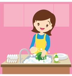 mom dish washing vector image