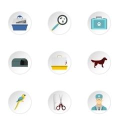 Veterinary animals icons set flat style vector
