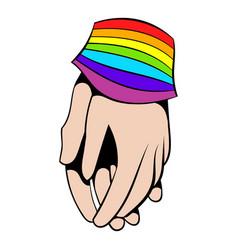 two hands tied rainbow ribbon icon icon cartoon vector image