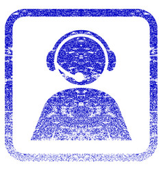 Call center operator framed textured icon vector