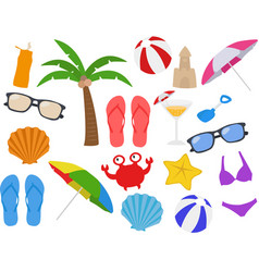 Beach equipments cartoon clipart vector