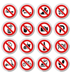 Prohibited symbols set vector image