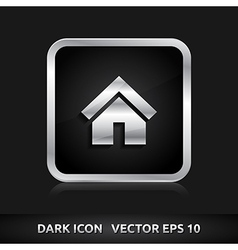 Home default icon silver metal vector