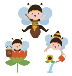 Cute bee babies set vector