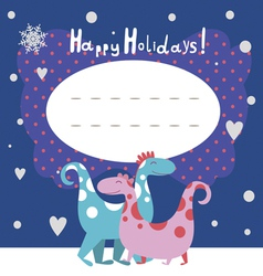 Holiday post card with dino characters vector