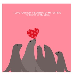 Valentines day card design with sea lions vector