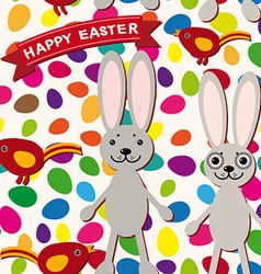 Happy Easter seamless pattern Rabbit eggs bird vector image