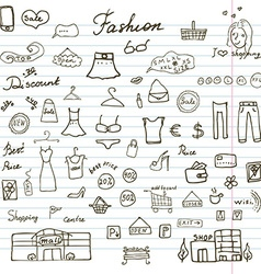 Fashion collection sketchy doodles set with vector