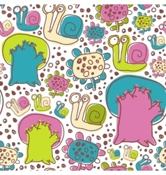 Seamless pattern with snails flowers and vector