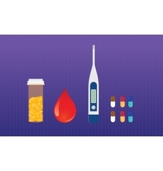 Diabetes medicine drugs and blood test sugar vector