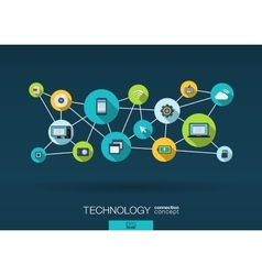 Technology network background with integrate flat vector