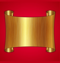 abstract gold award scroll plate on red background vector image