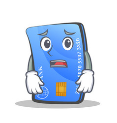 afraid credit card character cartoon vector image vector image