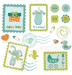 Baby boy stamps set vector