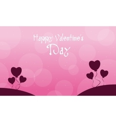 Background of valentine with heart balloon vector