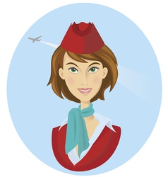 beauty cheerful stewardess women vector image vector image