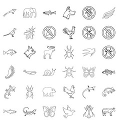 beetle icons set outline style vector image vector image