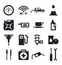 Black fuel pump gas station icons vector