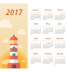 Calendar 2017 with lighthouse sunset vector image