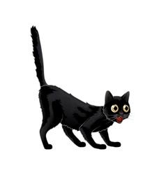 Cartoon black cat in shock she was vector