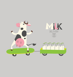 Cheerful cow delivers milk bottles on a scooter vector
