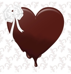 Chocolate melting heart with a white bow on a vector