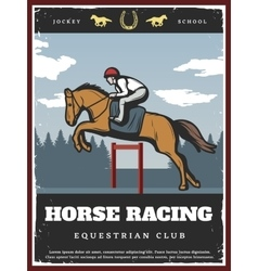 Colorful equestrian sport poster vector