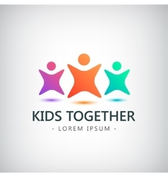 Colorful kids logo children friendship vector