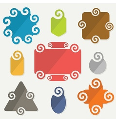 Colorful retro spiral icons design elements set vector