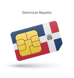 Dominican Republic mobile phone sim card with flag vector image