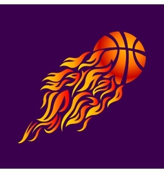 flame fire ball orange basketball symbol icon vector image
