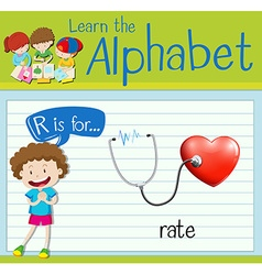 Flashcard letter R is for rate vector image vector image