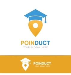 graduation cap and map pointer logo concept vector image