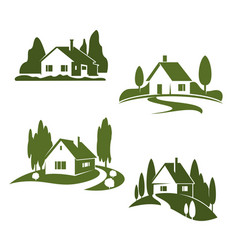 Green house farm forest icons vector