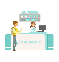 Guy with backpack in pharmacy choosing and buying vector