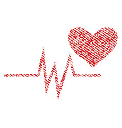 Heart pulse signal fabric textured icon vector