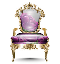 luxurious baroque chair soft textile vector image