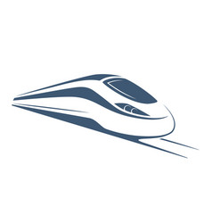 Modern high speed train emblem icon label vector
