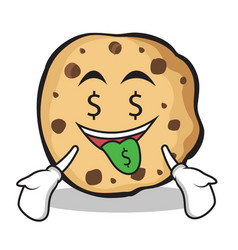 Money mouth face sweet cookies character cartoon vector