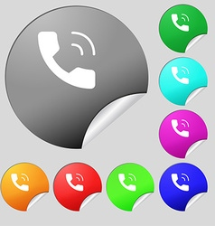 Phone icon sign Set of eight multi colored round vector image