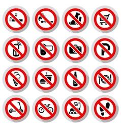 Prohibited symbols set vector