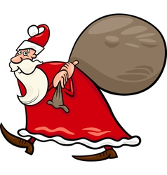 santa claus with sack cartoon vector image vector image